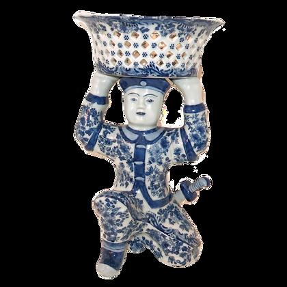 Blue & White Porcelain Samurai w/Basket