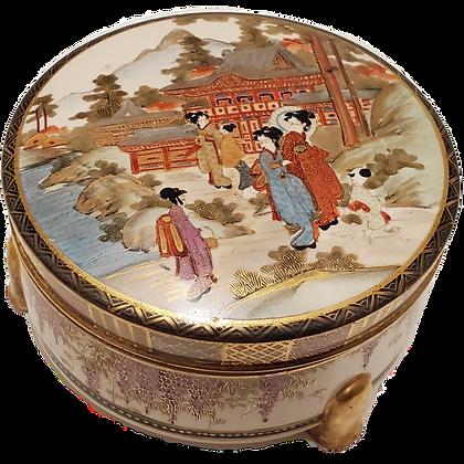 Satsuma Meiji Period Signed Covered Circular Box