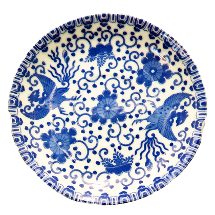 Vintage Blue & White Nippon Tokusei Blue Dragon Porcelain Plate