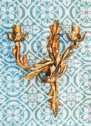 Floral Brass Wall Sconces (set of two)