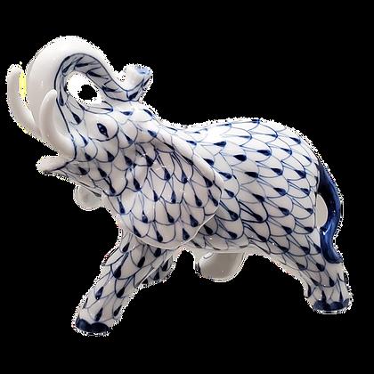 Blue & White Herend-Type Elephant