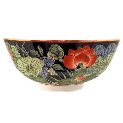 Black & Floral Bowl w/Gold Leaf from Gump's Japan
