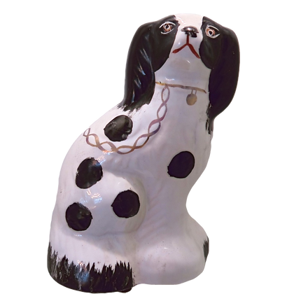 Staffordshire Black & White Spaniel Dog Figurine