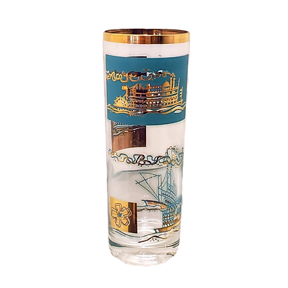 Teal & Metallic Gold River Boat Glasses (set of eight)