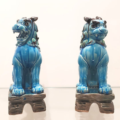 Turquoise Foo Dogs (set of two)