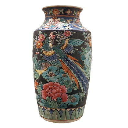 Black Pastel Pheasant Vase