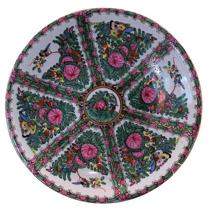 Rose Medallion Large Display Plate w/Six Painted Sections