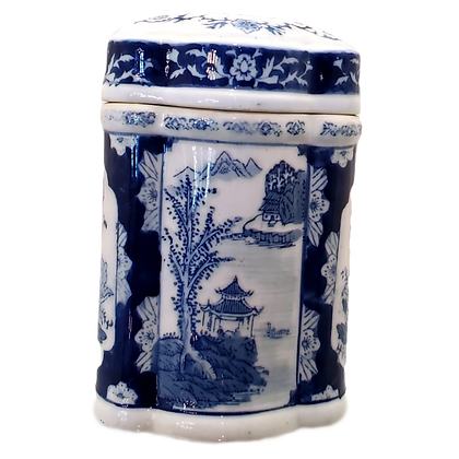Blue & White Tea Caddy w/Lid