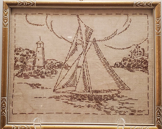 Embroidered Art of Sailboat (set of two)