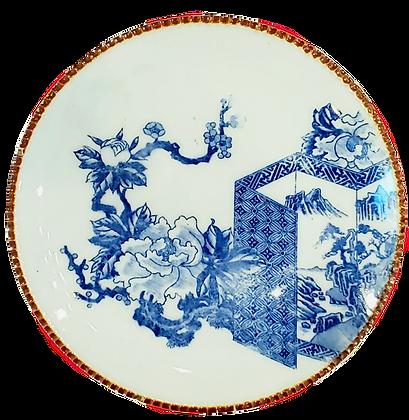 Blue & White Peony Plate w/Sakura Blossom