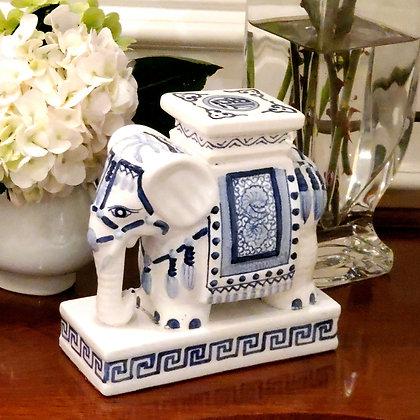Blue & White Tabletop Pedestal Elephant
