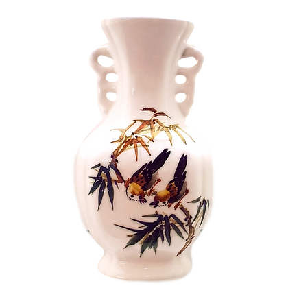 White Vase w/Two Painted Birds & Bamboo