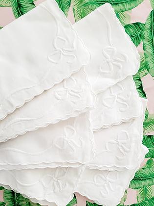 White Napkins w/Scalloped Edge & Embroidered w/Bow (set of eight)