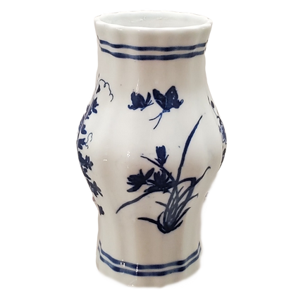 Blue & White Small Fluted Vase w/Floral Scenes