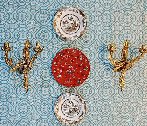 Plate Trio w/Ginger-Orange Center Plate & Matching Honc Empire Plates