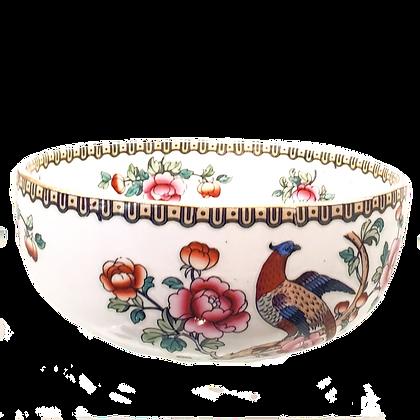 White Bowl w/Roses & Pheasant Semi Porcelain