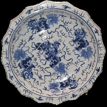 Blue & White Dragon Dog Bowl