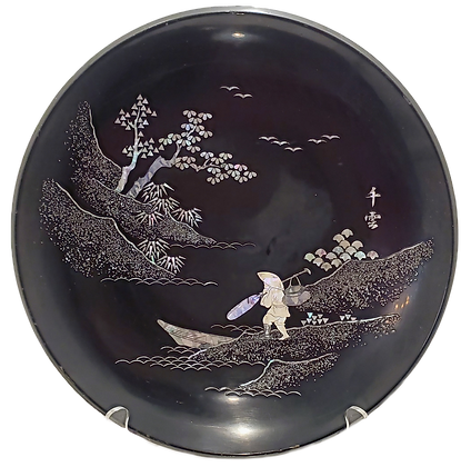 Japanese Black Lacquered Plate w/Mother of Pearl Inlay