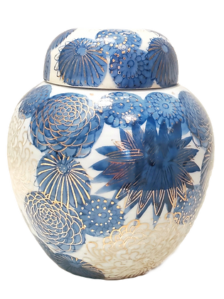 Blue & White Ginger Pot w/Hand-Painted Gold Leaf