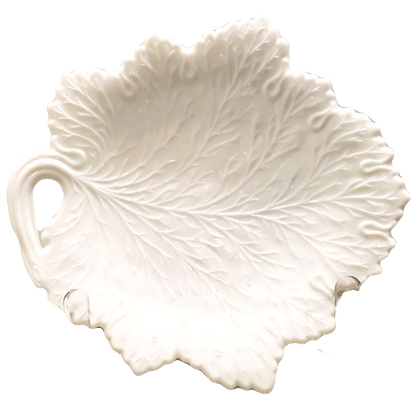 Milk Glass Leaf Plate