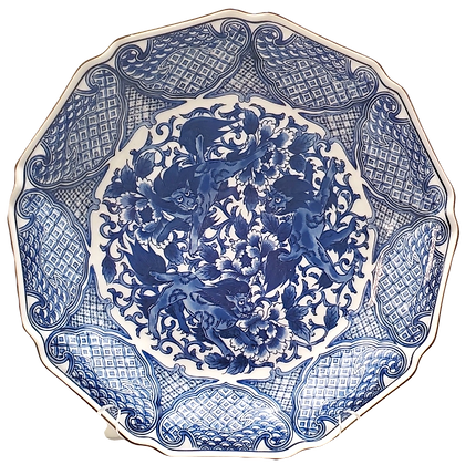 Blue & White Plate w/Three Foo Dogs