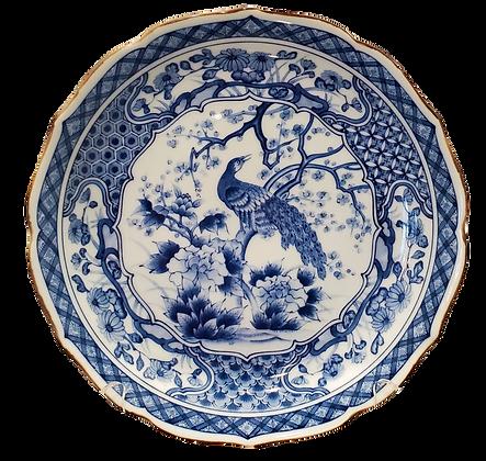 Blue & White Scalloped-Edge Plate w/Peacock