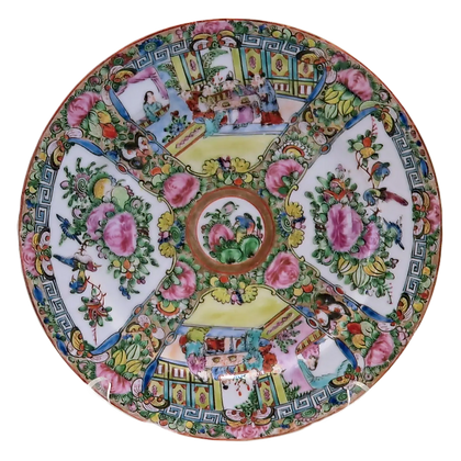 Rose Medallion Dinner Plate w/Four Painted Quadrants