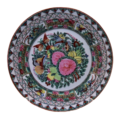 Rose Medallion Plate w/Two Painted Rose Buds