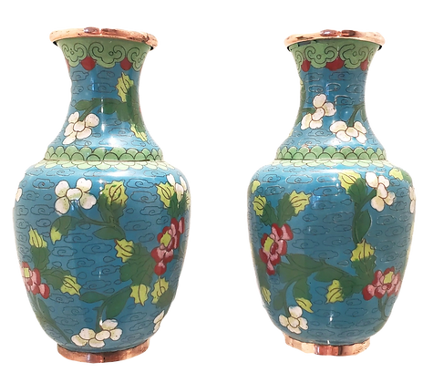 Aqua Cloisonne Vases (set of two)