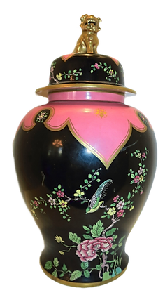 Pink & Black Temple Jar w/Gold Foo Dog