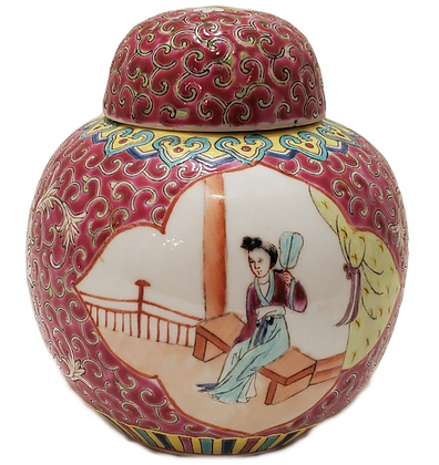 Pink Rose Medallion Ginger Jar
