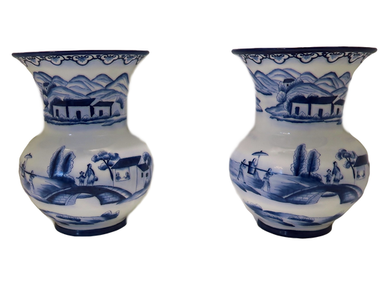 Blue & White Wall Vases (set of two)
