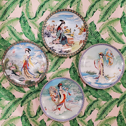 Imperial Jingdezhen Porcelain Geisha Plates (set of four)
