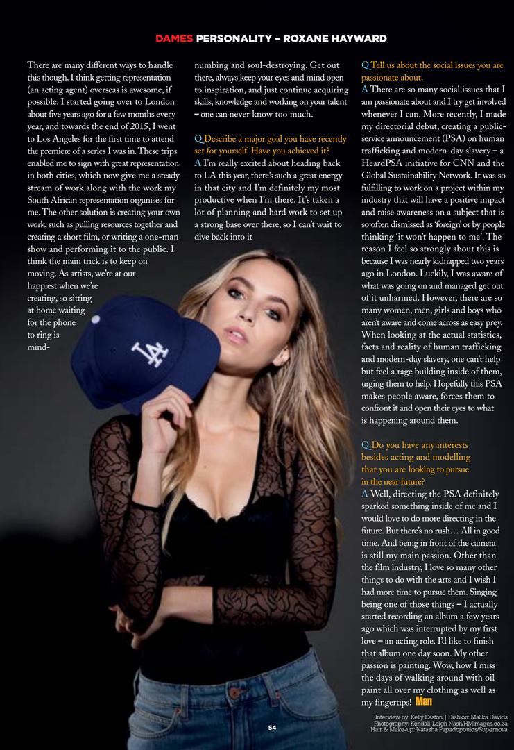 Man Magazine - Roxane Hayward