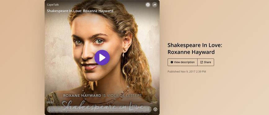 Cape Talk Interviews Roxane Hayward