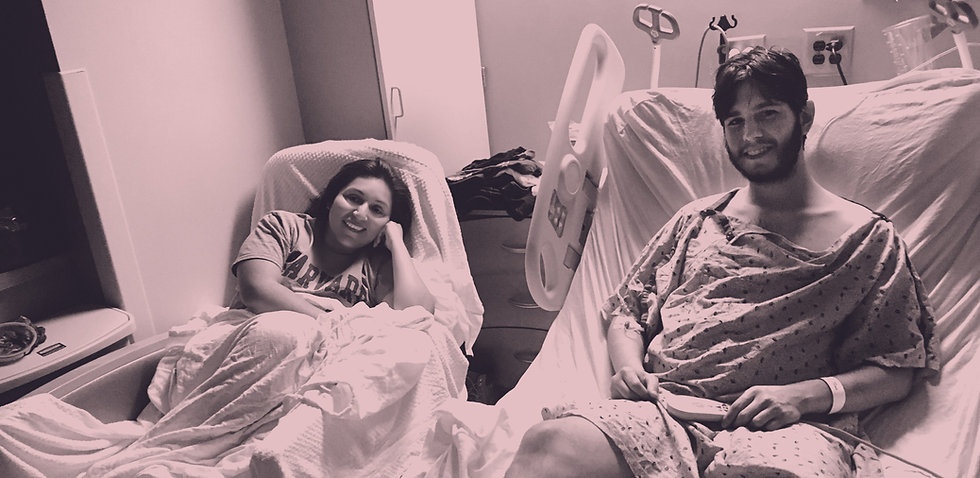 Cynthia Hellen and Ryan Alverez at the hospital