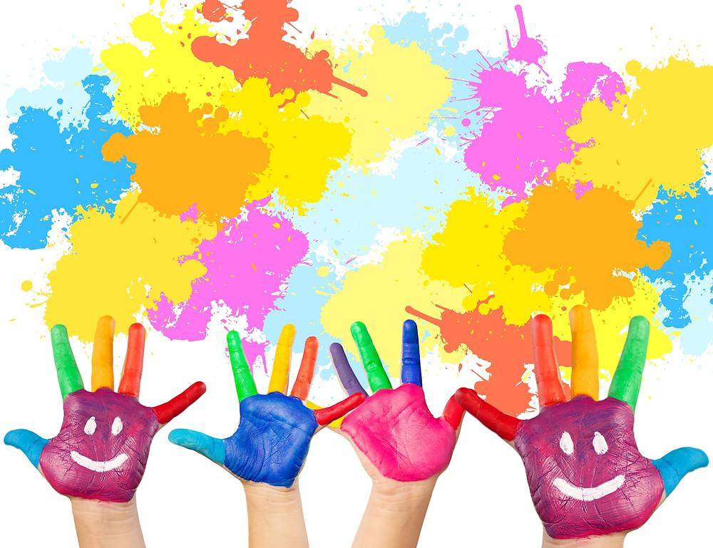 Children's hands and behavior technician hands