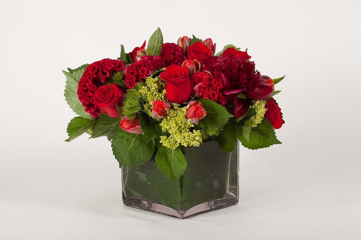 Flowers by special arrangement red celosia red peonies parrot tulips izmirmasajfo Images