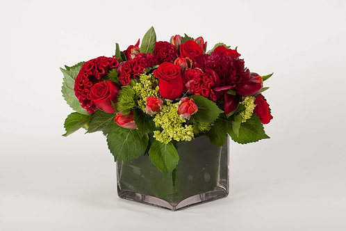 Red Celosia, Peonies & Parrot Tulips