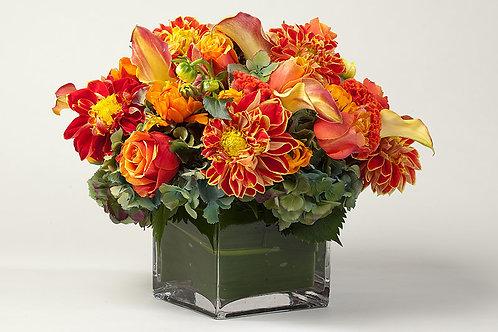 Dahlias, Mango Calla Lilies, Roses & Hydrangea