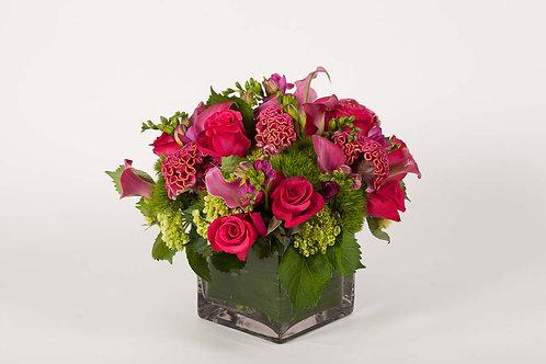 Hot Pink Celosia, Freesia & Roses