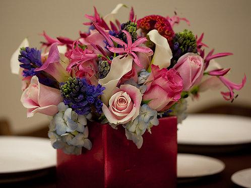 Hot Pink Nerines, Celosia & Blue Hyacinths