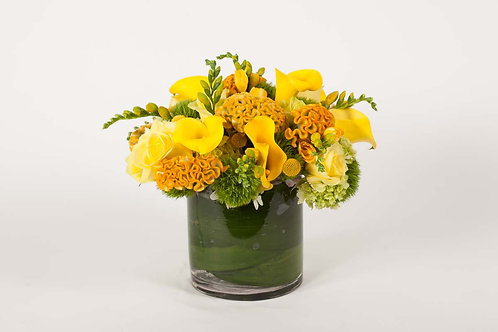 Yellow Celosia, Calla Lilies & Freesia