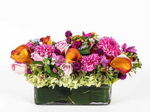 Pink Dahlias and Orange Calla Lilies