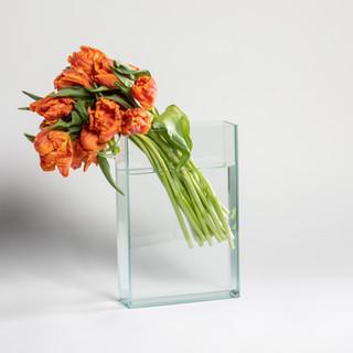 Tall orange parrot tulip arrangement
