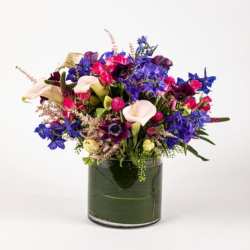 Blue Delphinium, Purple Anemones and White Calla Lilies