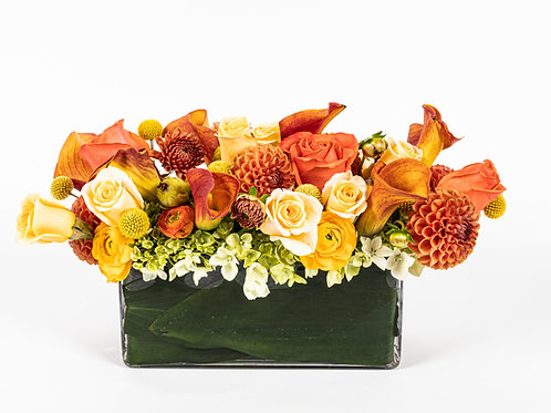 Orange Dahlias, Calla Lilies and Ranunculus
