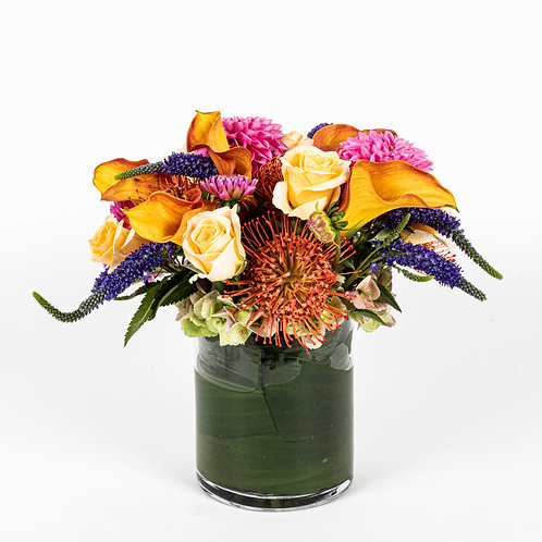 Orange Calla Lilly, Protea and Roses
