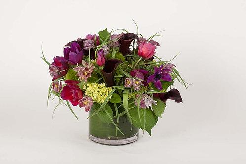 Purple Fritillaria, Anemones & Calla Lilies