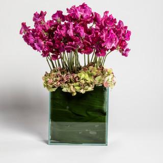 Short pink sweetpea arrangement